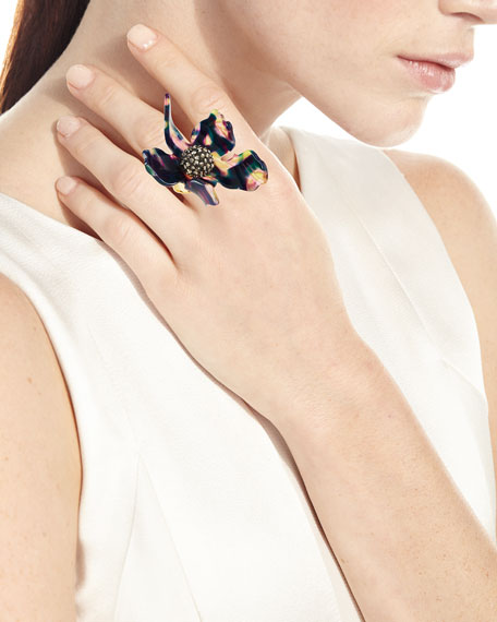 Sculptural Crystal Lily Ring