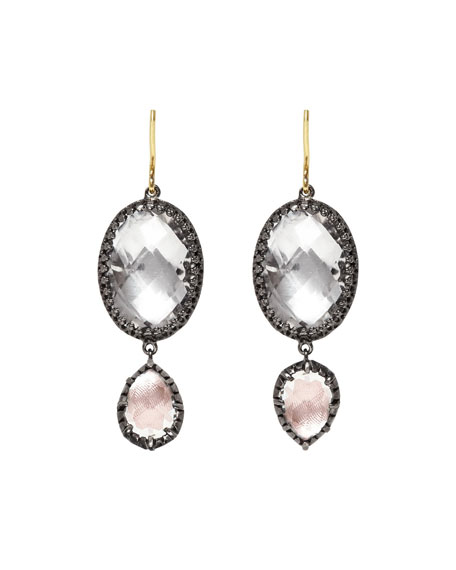 Sadie Double-Drop Earrings in Ballet & White Foil