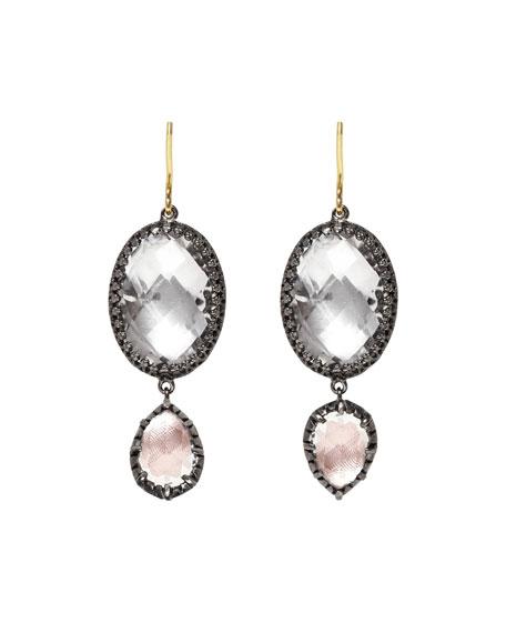 Sadie Double-Drop Earrings in Ballet & White Foil