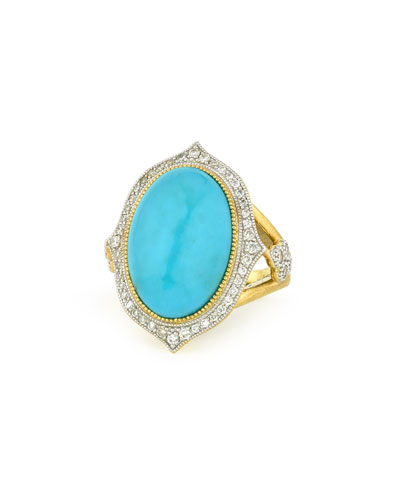 Large Moroccan Turquoise & Diamond Ring  Size 6.5