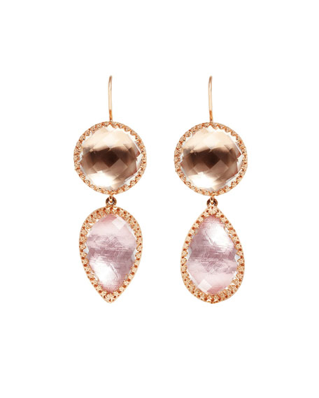 Sadie Double-Drop Earrings in Ballet & Copper Foil