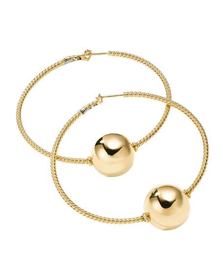 Solari 18K Gold Bead Hoop Earrings