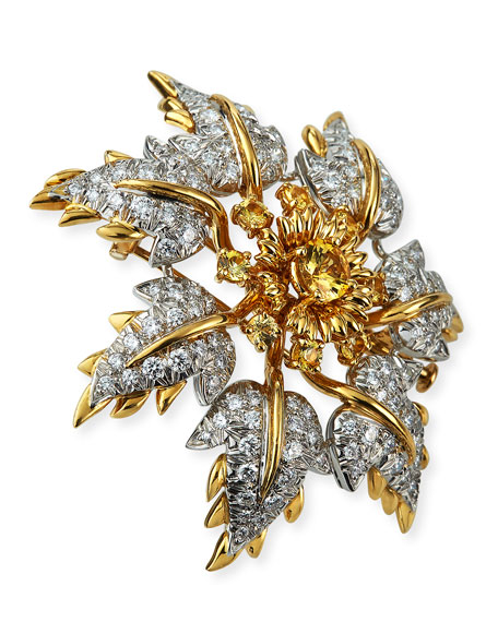 NM Estate Diamond/Yellow Sapphire Floral Leaf Pin