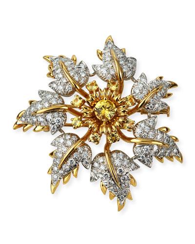 Diamond/Yellow Sapphire Floral Leaf Pin