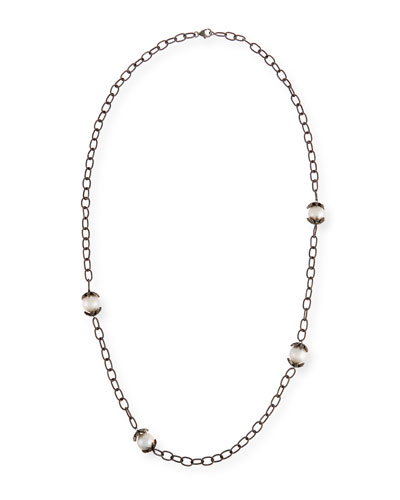 Pearl & Diamond Station Necklace