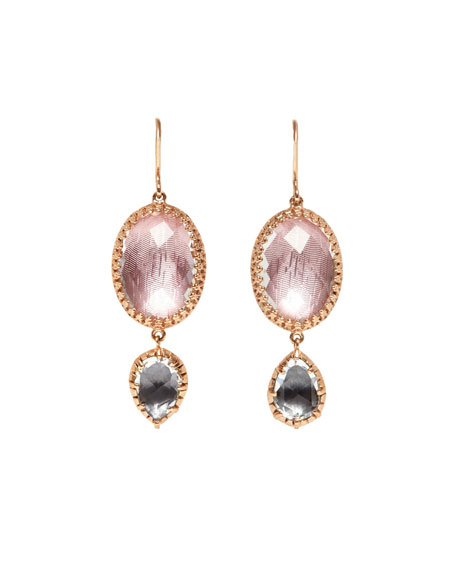 Sadie Oval Double-Drop Earrings in Ballet & Gray Foil