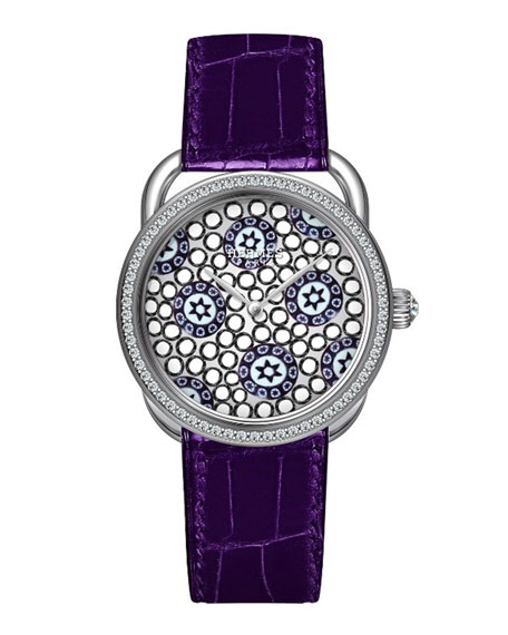 34mm Arceau Millefiori Watch with Diamonds, White/Purple