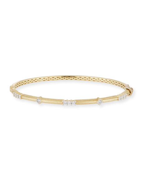 18k Gold Lisse Alternating Diamond Bangle