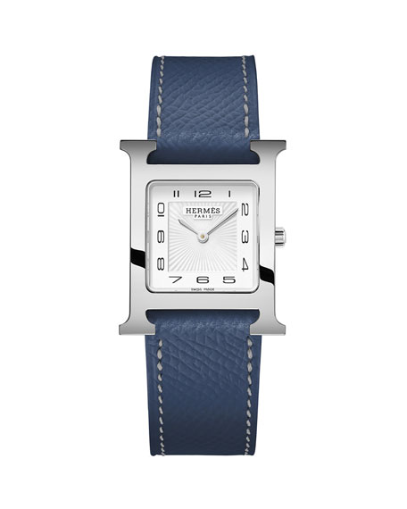 Heure H Watch with Malta Blue Leather Strap