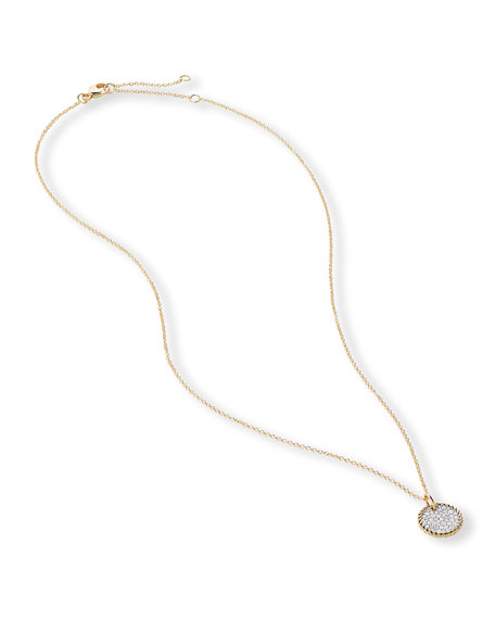 David Yurman Cable Collectibles Pave Charm Necklace with Diamonds in 18k Gold