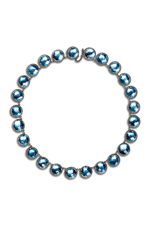 Larkspur & Hawk Olivia Button Riviere Necklace in Sky Foil