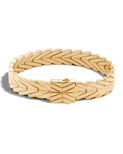 11mm Modern Chain 18K Gold Bracelet, Size M