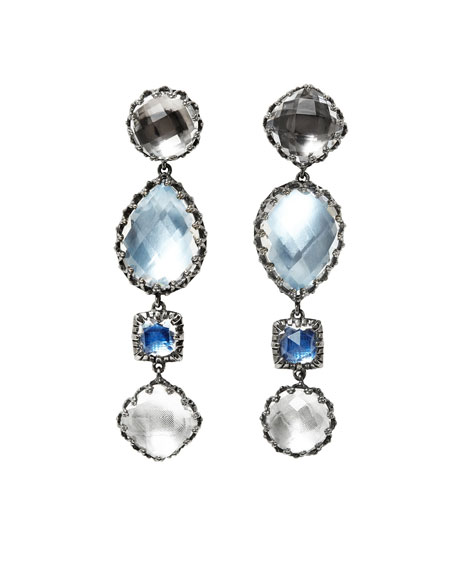 Sadie Four-Drop Earrings in Multi-Blue Foil