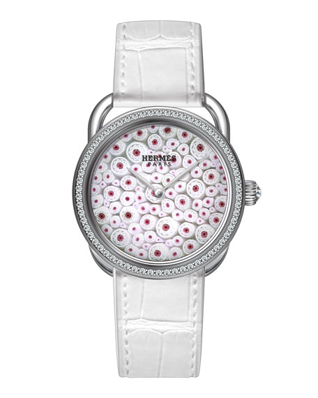 34mm Arceau Millefiori Watch with Diamonds, White/Red