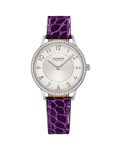 Slim d'Hermes Watch with Diamonds & Currant Alligator Strap