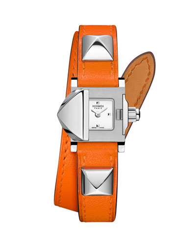 16mm Medor Mini Watch w/ Orange Leather Strap