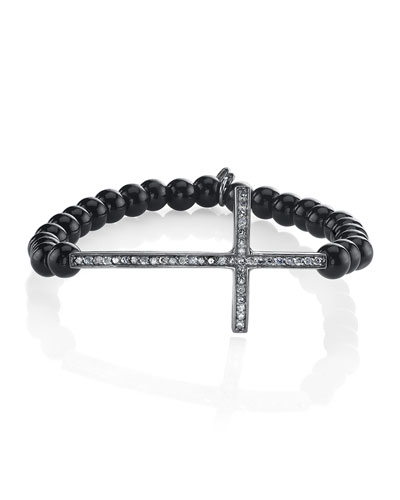 6mm Black Onyx & Diamond Cross Bracelet