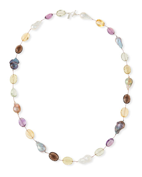 """Colorful Baroque Pearl & Cushion-Cut Stone Necklace, 34"""""""