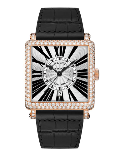 Master Square Watch with Diamonds & Black Alligator Strap