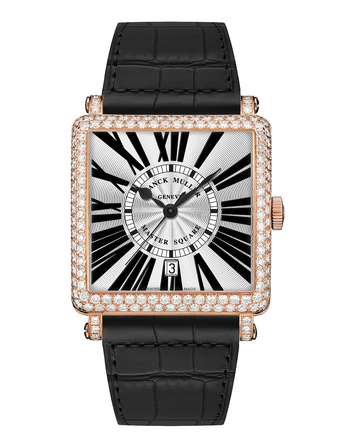 5a6c0e58f3c Franck MullerMaster Square Watch with Diamonds   Black Alligator Strap