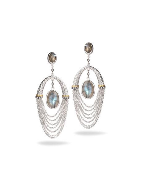 Spring Labradorite Chain Drop Earrings with Diamonds