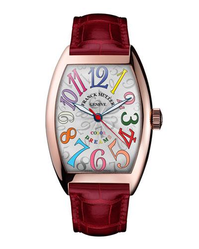 Cintree Curvex 18K Rose Gold Watch with Alligator Strap