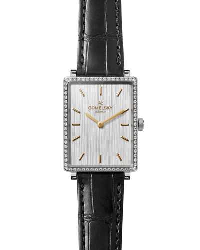 GOMELSKY BY SHINOLA SHIRLEY 32MM ALLIGATOR STRAP WATCH WITH DIAMONDS, BLACK/SILVER