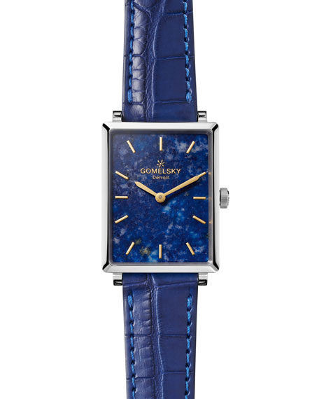 Gomelsky Shirley 32mm Alligator Strap Watch with Lapis