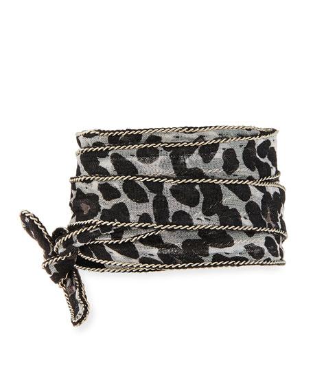 Chan Luu Leopard-Print Chiffon Necklace, White Pattern