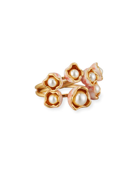Tory Burch Pearly Bud Stacking Rings