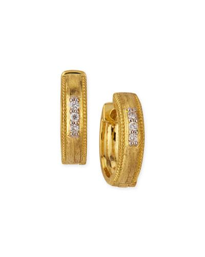 Lisse Small 18K Gold Hoop Earrings w/ Diamonds