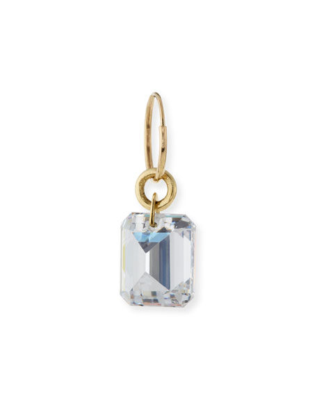 """Drilled Single Earring with Crystal, 1.2""""L"""