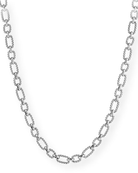 David Yurman Cushion-Link Chain Necklace w/ Blue Sapphires