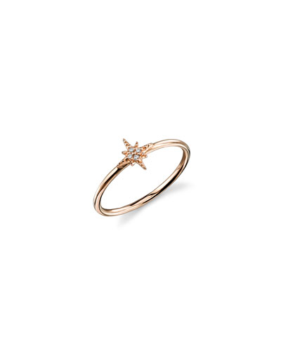 14k Rose Gold Diamond Starburst Ring  Size 6.5