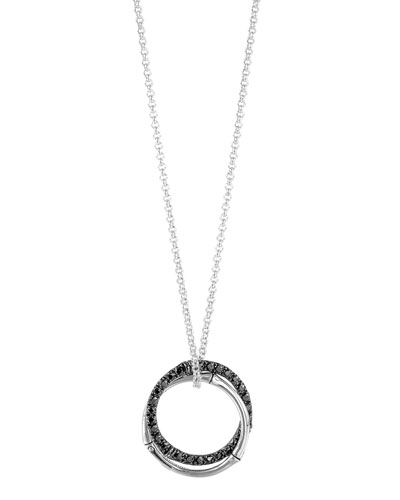 Bamboo Silver Interlinking Pendant Necklace w/ Black Sapphires