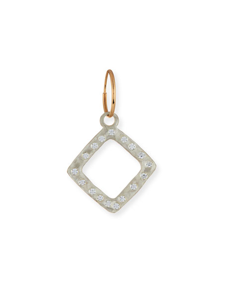 LEE BREVARD Square Single Compass Earring With Stones in Silver