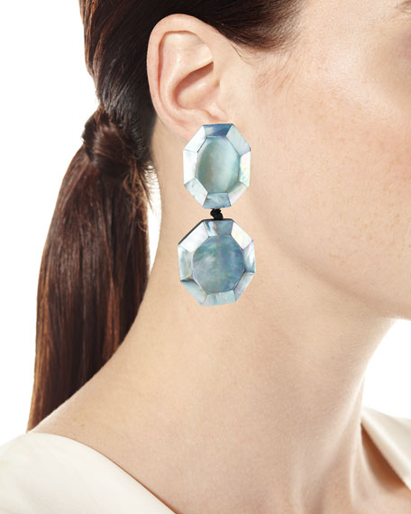Faceted Double-Drop Mother-of-Pearl Clip-On Earrings