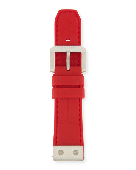 22mm Embossed Rubber Watch Strap, Red
