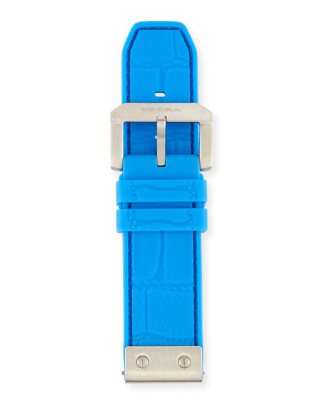 Brera 24mm Embossed Rubber Watch Strap, Blue