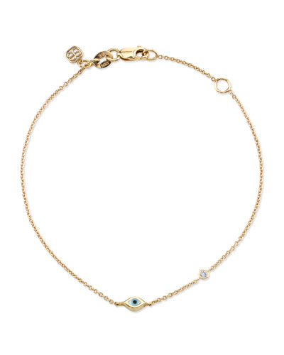 14k Mini Enamel Evil Eye Bracelet w/ Diamond