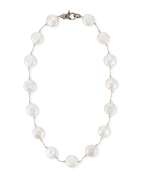 White Coin Pearl Necklace, 16""