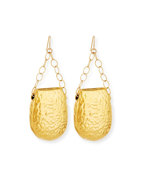 Devon Leigh Earrings-Hammered Gold Half