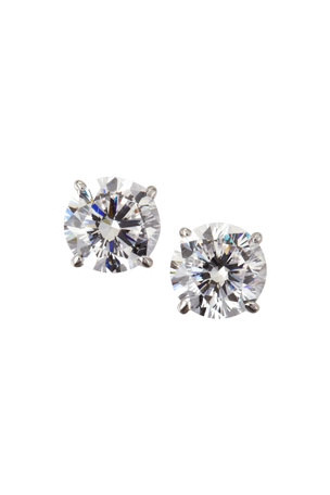 Fantasia by DeSerio 14k White Gold Cubic Zirconia Stud Earrings, 2.5 TCW