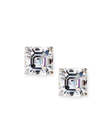 Square-Cut Cubic Zirconia Stud Earrings
