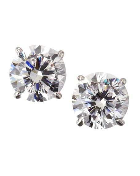 14k White Gold Cubic Zirconia Stud Earrings, 2.0 TCW