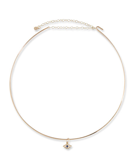 Mini Evil Eye Charm Collar Necklace in 14K Gold