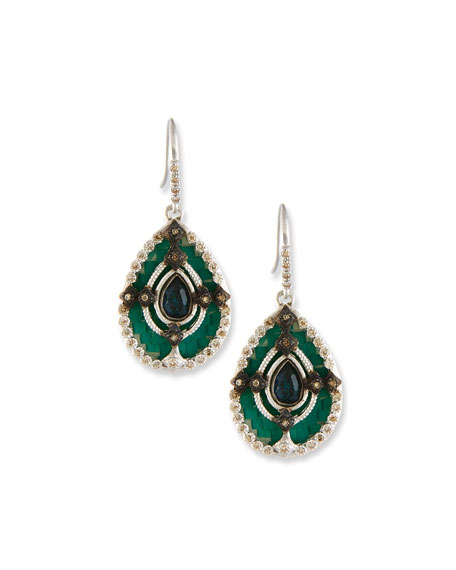 Armenta New World Teal Mosaic Earrings with Champagne