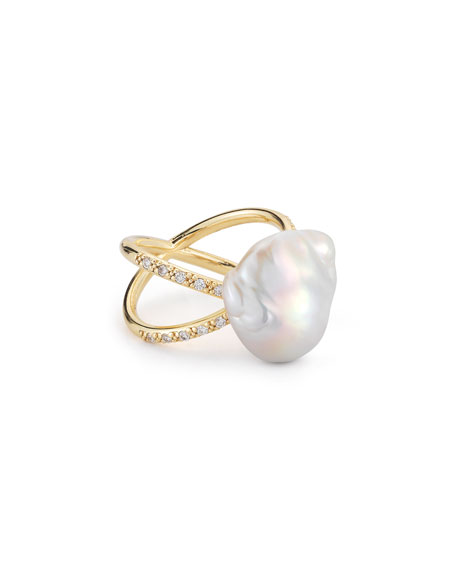 MIZUKI Pearl & Diamond Crossover Ring In 14K Gold, Size 7 in Yellow Gold/ White Pearl