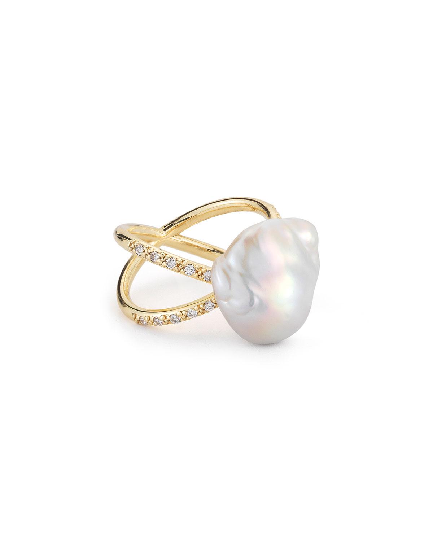 Mizuki Curved Baroque Pearl & Diamond Ring in 14K Gold, Size 7