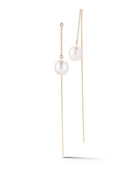 Thread-Through Pearl Chain Drop Earrings